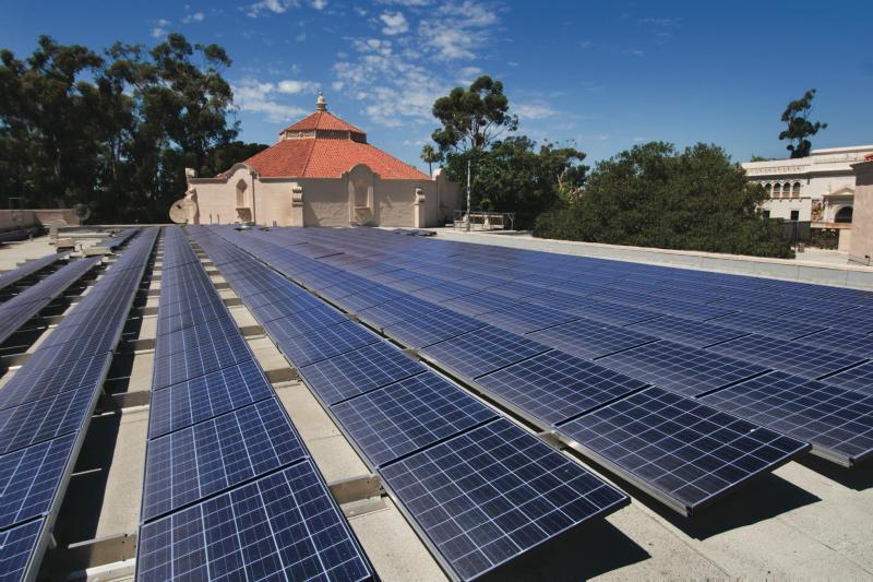 Solar panels shine at the Fleet Science Center in Balboa Park.